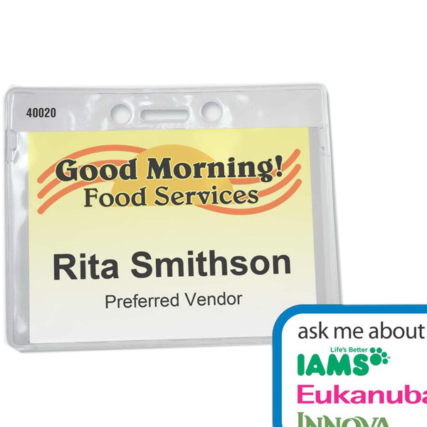 Printed Badge Holder - Clear Pocket w/Printed Insert - Full Color