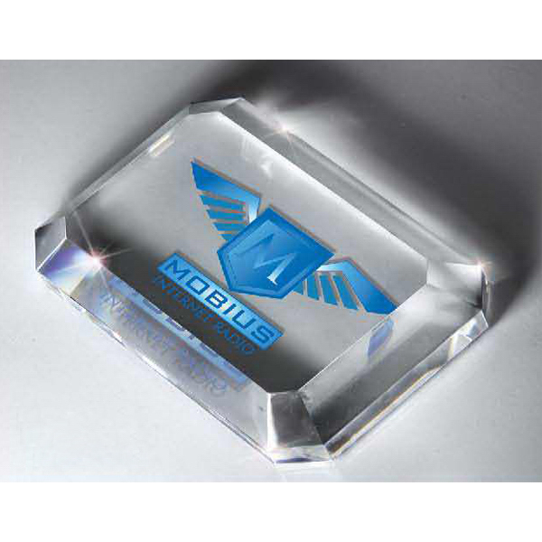 Customized Optic Crystal Rectangular Paperweight with Digi-color