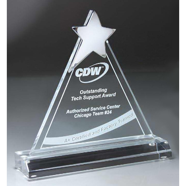 Printed Chrome Star on Triangle Lucite Award