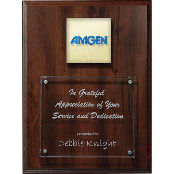 Printed Digi-Color Emblem on Lucite/Walnut Finish Riser Plaque
