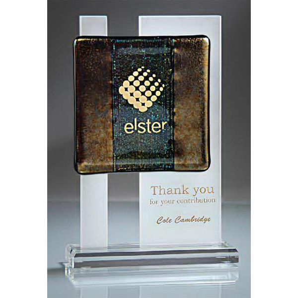 Imprinted Bronzed Glass on Frosted Lucite on Clear Base