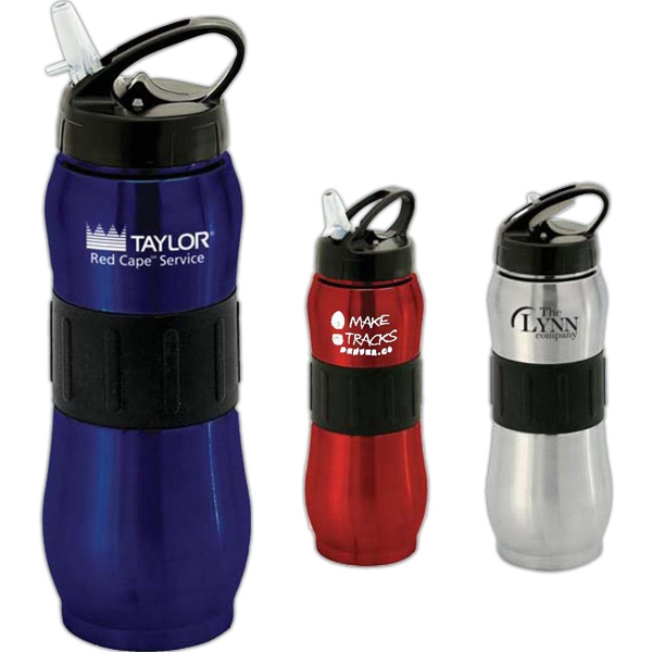 Promotional Tundra 32 oz. Rubber Grip Steel Sports Bottle