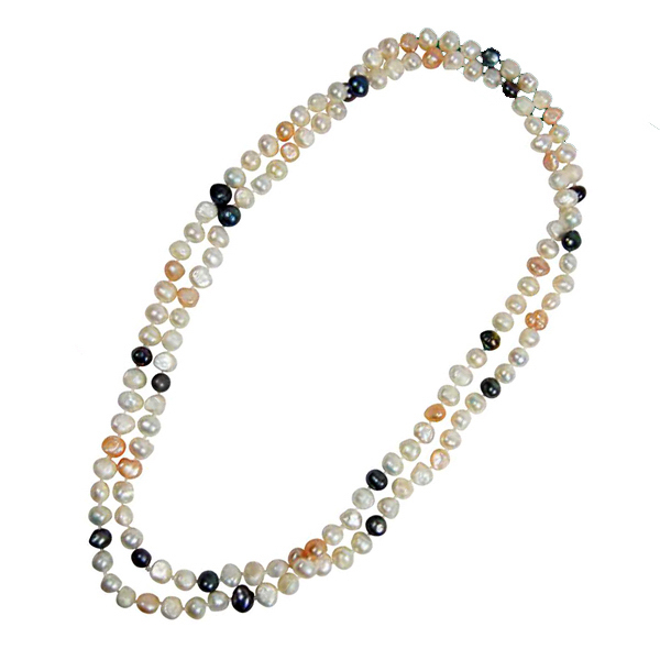 "Printed Genuine 47"" Freshwater Baroque Pearl Necklace"