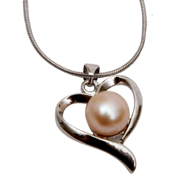 Custom Pink Freshwater Pearl Heart Necklace