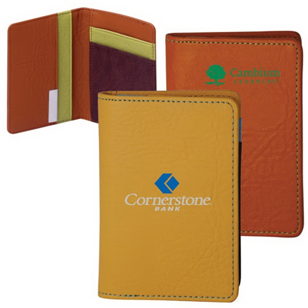 Printed Leather bi-fold card holder