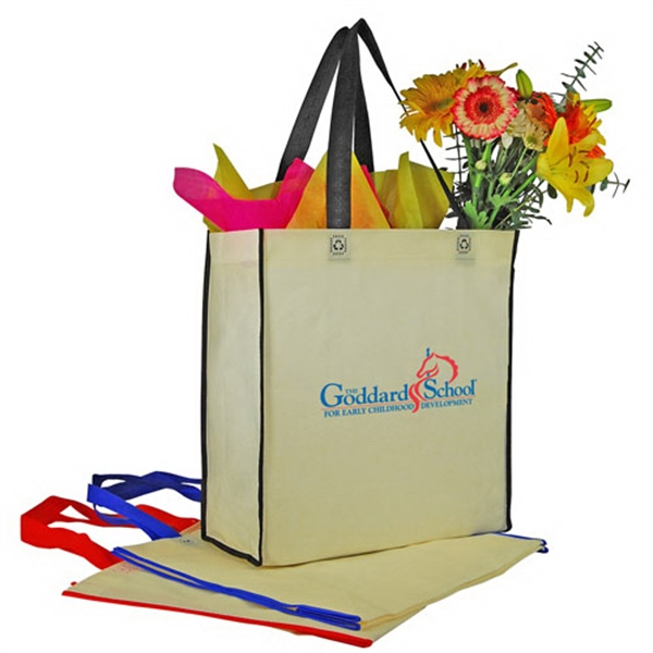 Promotional Two-Tone Nonwoven Vertical Shopping Tote
