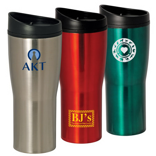 Imprinted 16 oz. curved stainles steel tumbler