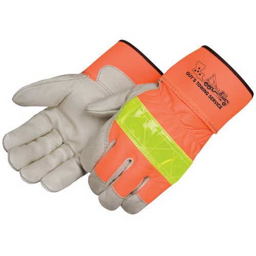 Imprinted Safety Grain Pigskin Work Gloves