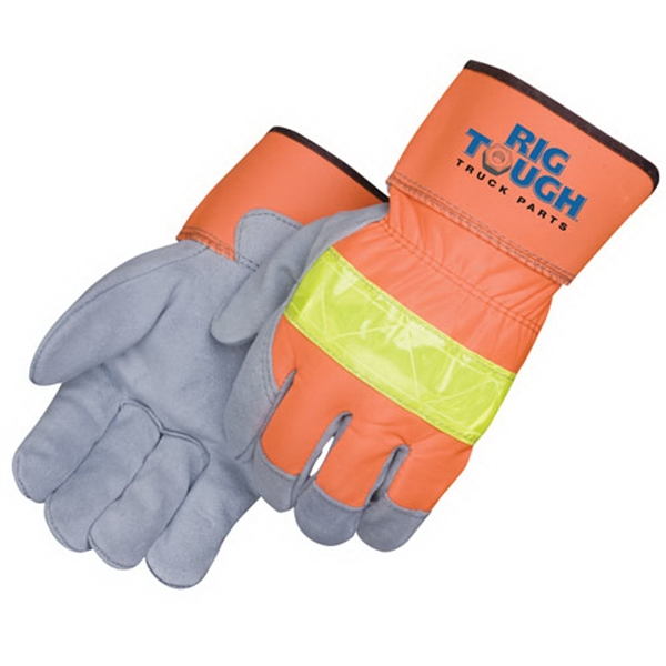 Printed 3M Scotchlite safety split leather work gloves