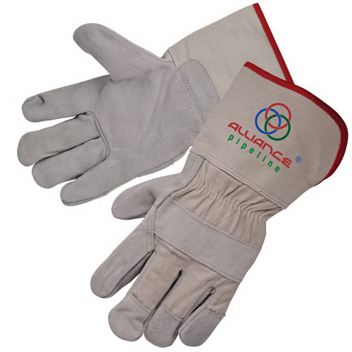 "Imprinted Select split cowhide work gloves with 4 1/2"" cuff"