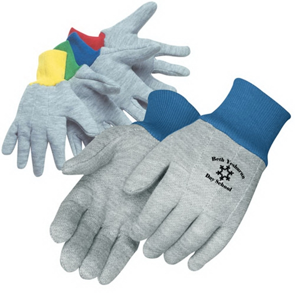 Printed Kidss gray jersey gloves with assorted color wrist