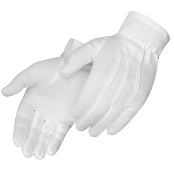 Imprinted Formal White Dress Gloves with Snaps