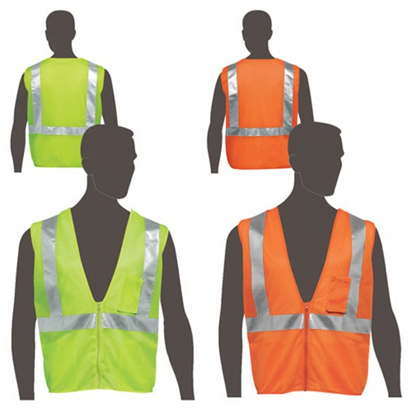 Promotional Class 2 compliant mesh safety vest with inside pocket