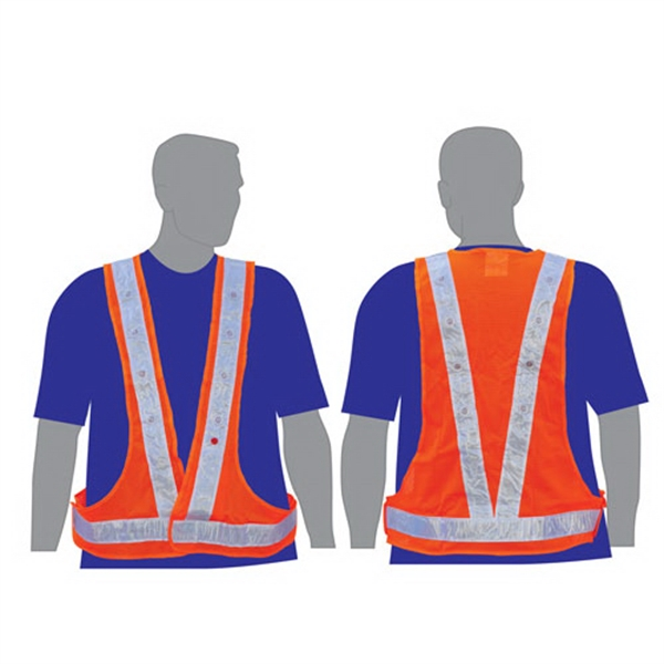 Imprinted Illuminated safety vest with dual color lights