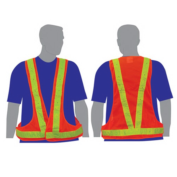 Imprinted Illuminated safety vest with red lights