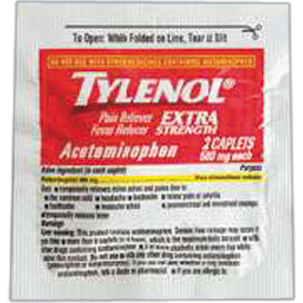 Imprinted Pain medication, Tylenol packet (2 tablets)