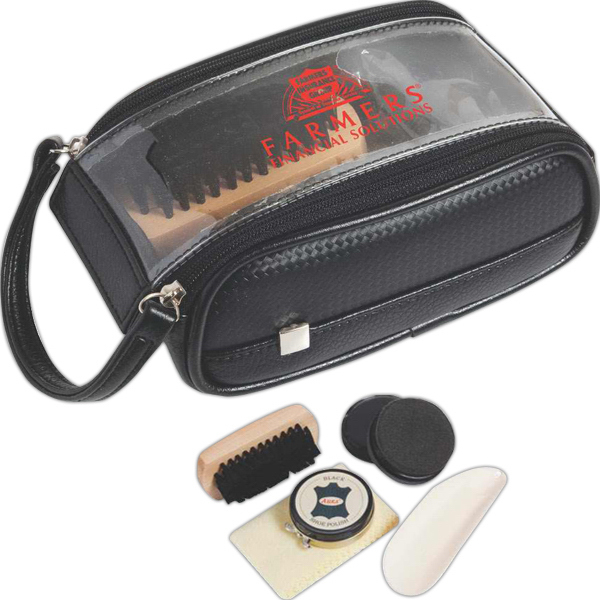 Imprinted Weekender shoe shine kit
