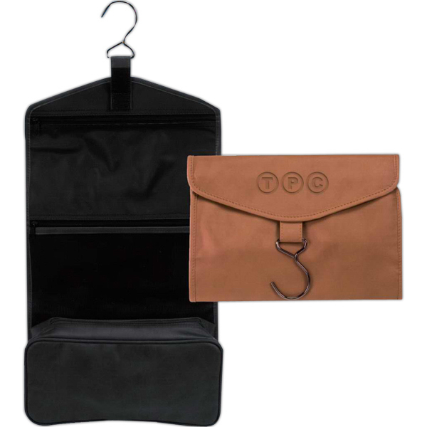 Imprinted Fine leather executive hanging toiletry bag