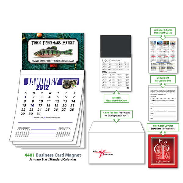 Imprinted Magna-Cal Business Card Magnet Calendar - Jan. 2013