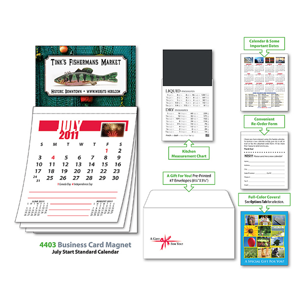 Promotional Magna-Cal Business Card Magnet Calendar - July 2012