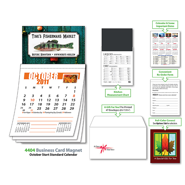 Imprinted Magna-Cal Business Card Magnet Calendar - Oct. 2012