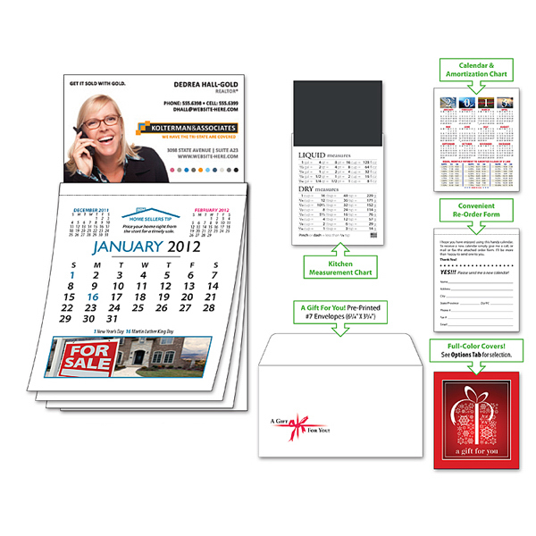 Printed Magna-Cal Business Card Magnet R.E. Calendar - Jan. 2013