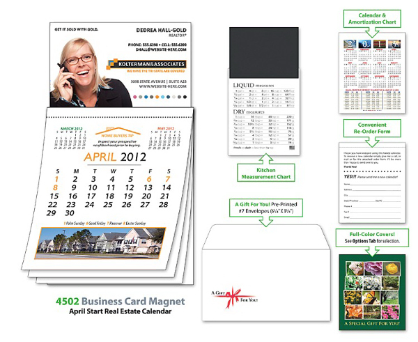 Printed Magna-Cal Business Card Magnet R.E. Calendar - Apr. 2013