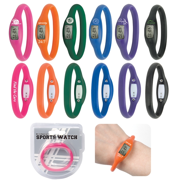 Printed Water Resistant Silicone Sports Watch