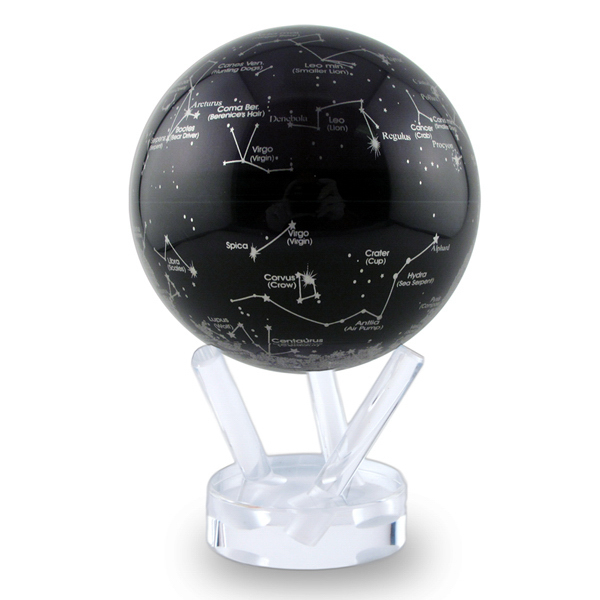 Promotional 4.5 Inch Mova Globe White Constellations on Black