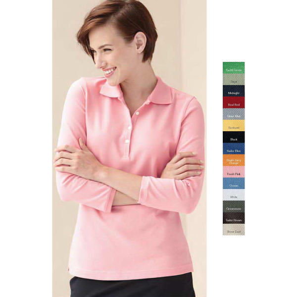 Promotional IZOD Ladies' 3/4 Sleeve Silk-wash Pique Sport Shirt