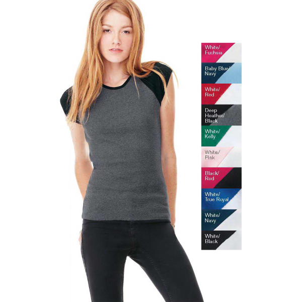 Imprinted Bella + Canvas Ladies Baby Rib Cap Sleeve Raglan T-Shirt
