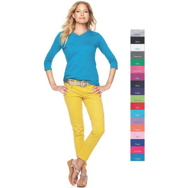 Printed LAT Ladies' V-Neck T-Shirt with 3/4 Sleeves