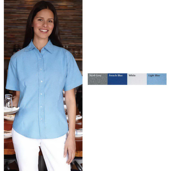 Personalized FeatherLite (R) Ladies' Short Sleeve Oxford Shirt