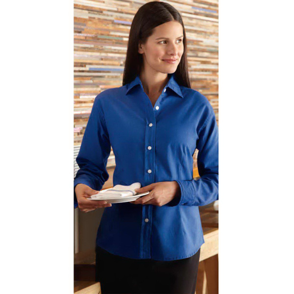 Printed FeatherLite (R) Ladies' Long Sleeve Oxford Shirt