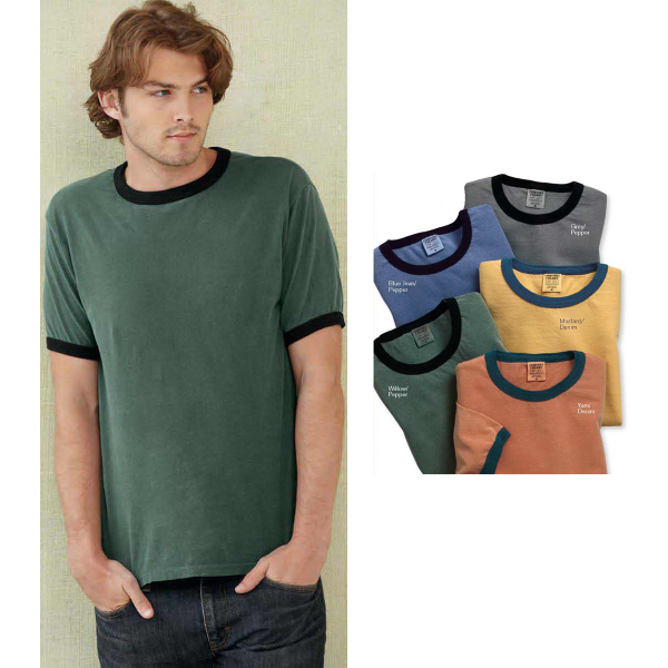 Customized Comfort Colors Pigment Dyed Enzyme-washed Ringer T-Shirt
