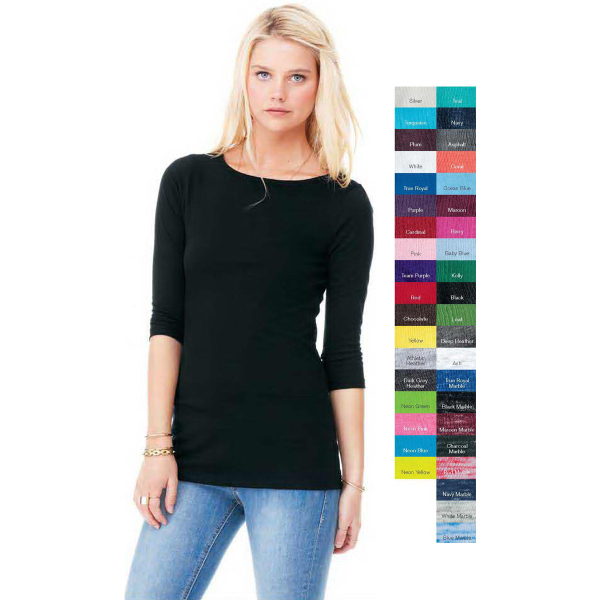 Printed Bella + Canvas Ladies' 1/2 Sleeve Boat Neck T-Shirt