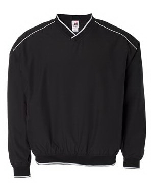 Imprinted Badger Microfiber Windshirt with White Piping and Trim
