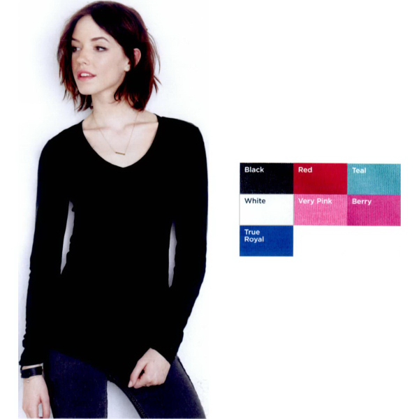 Customized Bella Ladies' Sheer Mini Rib Long Sleeve V-Neck T-Shirt