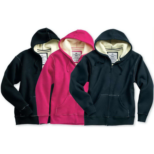 Imprinted J.America Full-zip Hooded Thermal Jacket