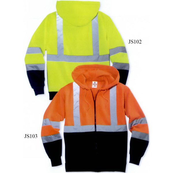 Imprinted ML Kishigo Hi-Vis Hooded Full-Zip Sweatshirt