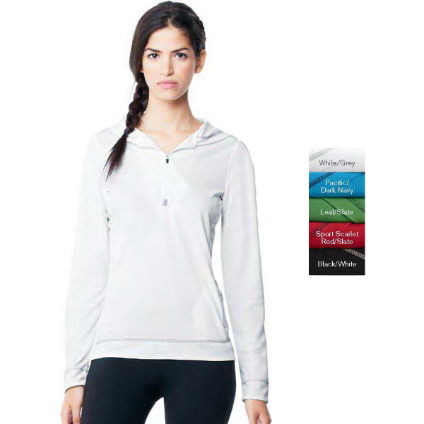Imprinted Alo (TM) Ladies' Long Sleeve 1/2 Zip Hooded Pullover