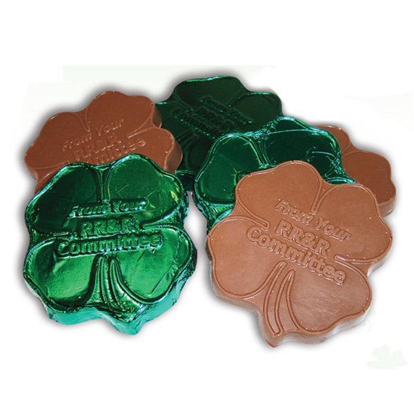 Personalized Shamrock Clover Shape Molded Chocolate