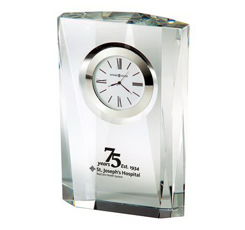 Printed Quest Crystal Award Clock