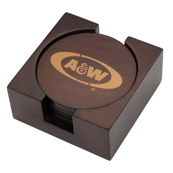 Promotional Arbon Wooden Coaster Set, 3 1/2""