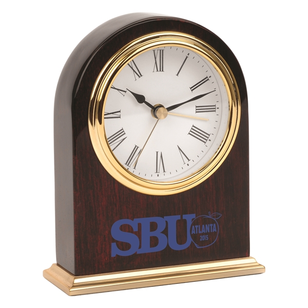 Imprinted Arched Wooden Desk Gold Alarm Clock