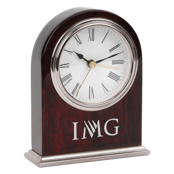 Customized Arched Wooden Desk Silver Alarm Clock