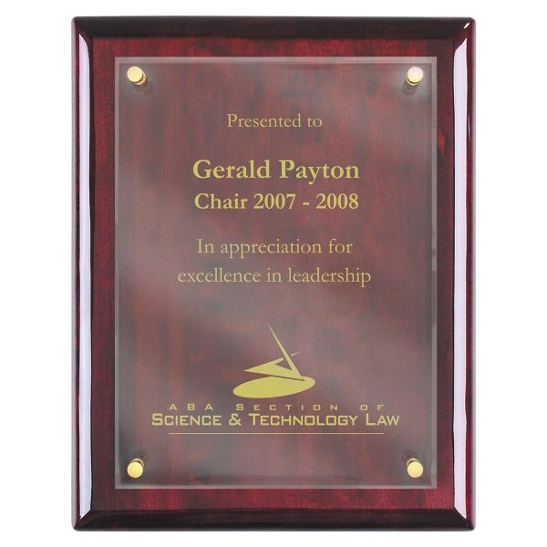 Imprinted Piano Wood (R) Wall Plaque with Acrylic