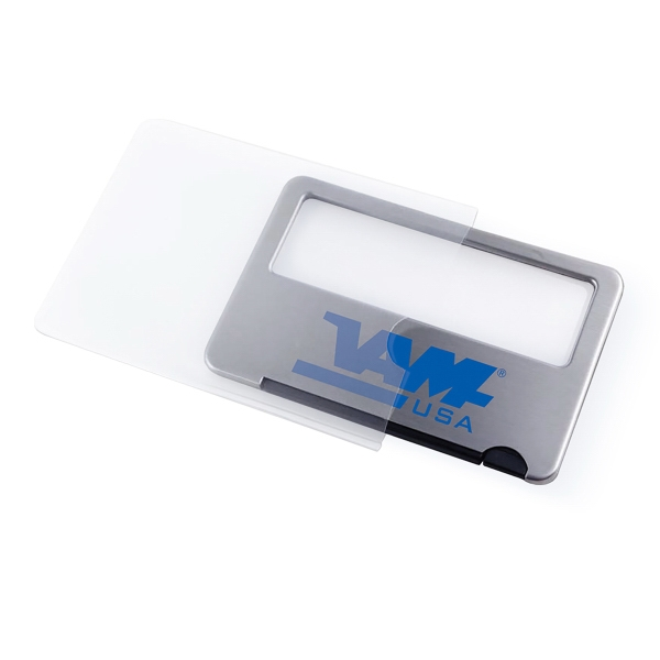Imprinted Stainless Steel Lighted Card Size Magnifier