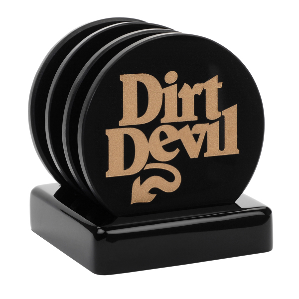 Imprinted Davos 4 Pc Elegant Black Marble Coaster Set