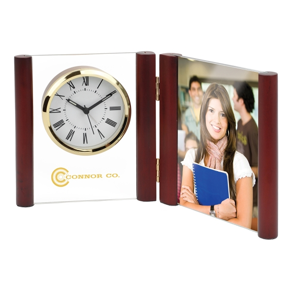 Imprinted Glass Desk Alarm Book Clock Photo Frame